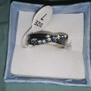 Sapphire  and CZ Silver Band